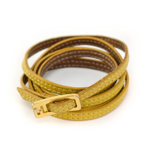 """Item - Yellow/Brown Reversible Leather """"Ff"""" Logo Wrap Necklace (Mo)/ Bracelet"""