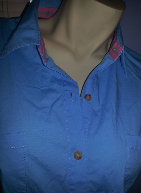 Kim Rogers short dress blue Cotton Stretch Buttondown Comfort on Tradesy