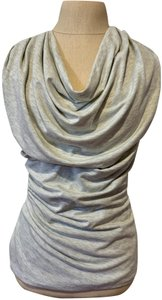 Bordeaux Ruching Draping Cowl Neck Double Lined Top Gray