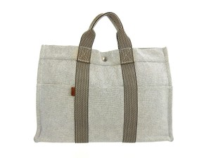 Hermès Vintage Canvas Tote in Light Gray