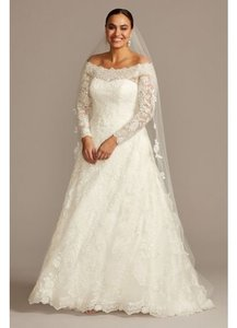Oleg Cassini White Lace David's Bridal 8cwg765 Traditional Wedding Dress Size 18 (XL, Plus 0x)