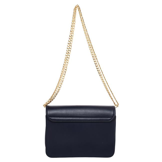 Item - Gold Tone Blue Leather Shoulder Bag