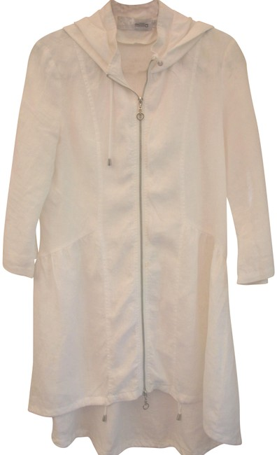 Item - White Linen Zip Front Hi-lo Hooded Tunic Size 6 (S)