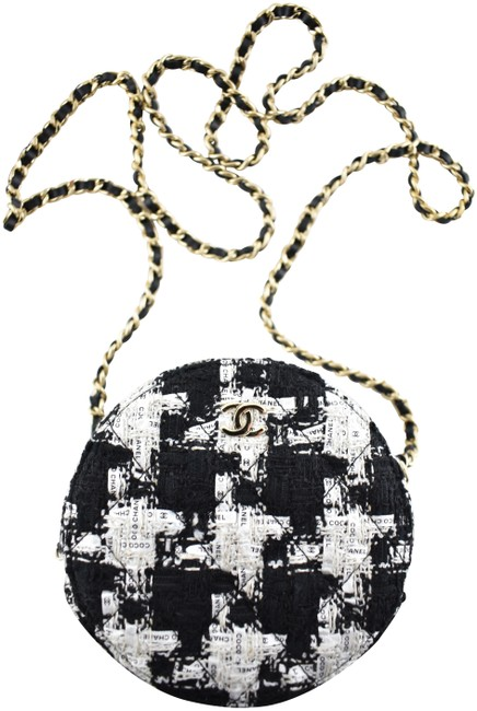 Item - Shoulder Clutch 20s White Houndstooth Logo Circle On Chain Black Tweed Cross Body Bag