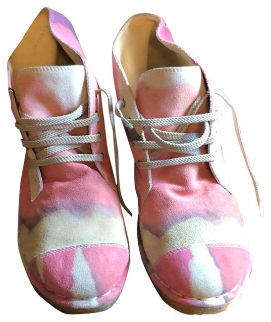 Item - Tan Pink Earth Colors Fantasy Lace Up Boots/Booties Size EU 38.5 (Approx. US 8.5) Regular (M, B)
