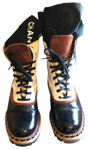 Chanel Black Brown Leather Suede Boots