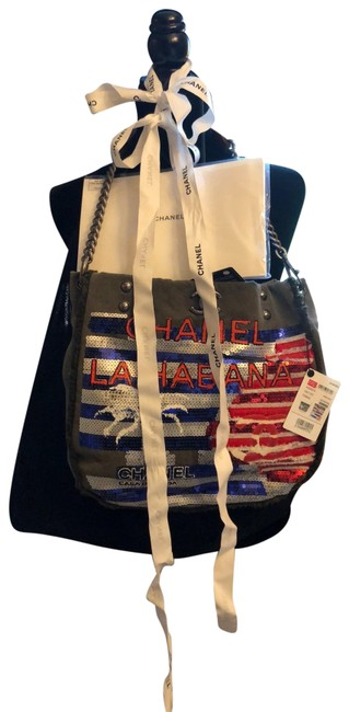 Item - Cuba Habana Khaki Red White Blue Cloth Leather Hobo Bag