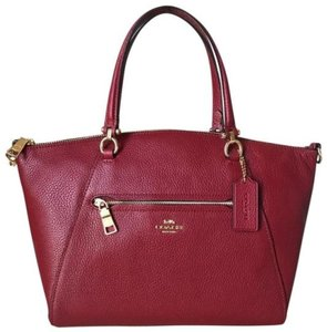 Coach Gold Hardware Leather Satchel in Deep Scarlet