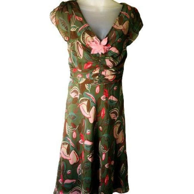 Item - Green Pink Autumn Leaves Mid-length Night Out Dress Size 6 (S)