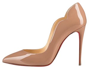 Christian Louboutin Heel Height 100mm Patent Leather Nude Pumps