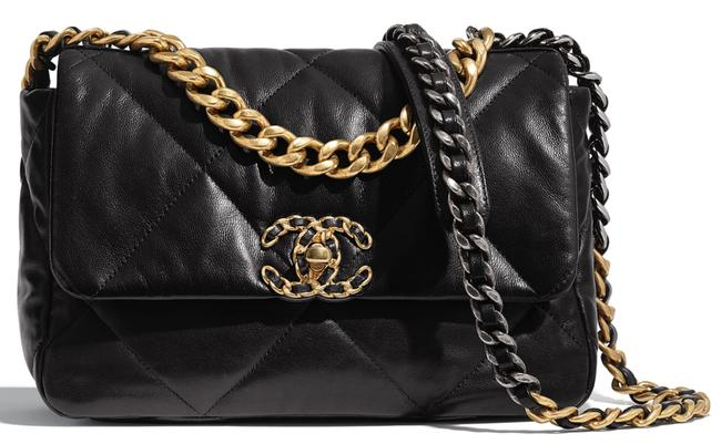 Chanel Classic Crossbody 19 Small 20s Quilted Gold Silver Cc Chain Flap Black Goat Skin Leather Shoulder Bag Chanel Classic Crossbody 19 Small 20s Quilted Gold Silver Cc Chain Flap Black Goat Skin Leather Shoulder Bag Image 1