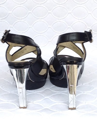 L.A.M.B. Black leather with silver metallic heel Platforms