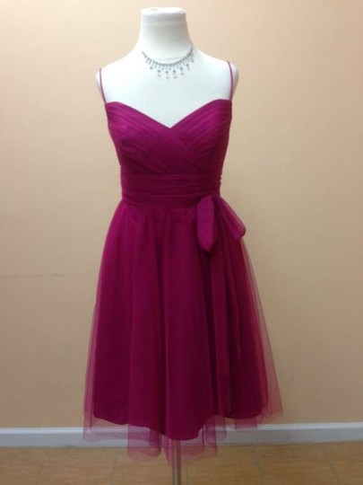 Alfred Angelo Vivid Pink Soft Net 8607 Formal Bridesmaid/Mob Dress Size 8 (M)