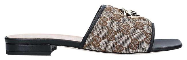 Item - Brown Jolie Logo-print Canvas and Leather Sliders Sg Sandals Size EU 37.5 (Approx. US 7.5) Regular (M, B)