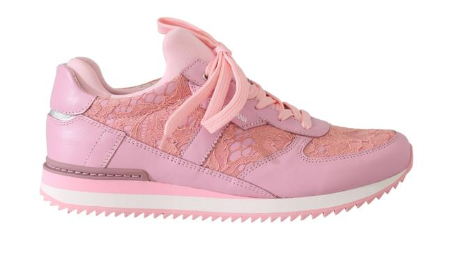 Item - Pink Floral Lace Leather Dolce & Gabbana Women Sneakers Size US 4.5 Narrow (Aa, N)