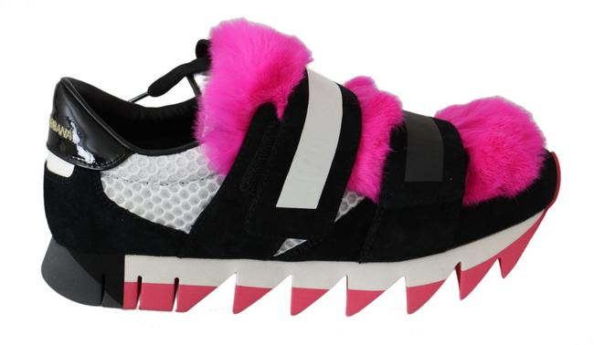 Item - Black Silver Pink Fur Leather 00% Dolce & Gabbana Sneakers Size US 6 Narrow (Aa, N)