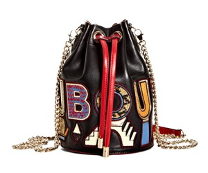 Christian Louboutin Leather Crystal Embroidered Cross Body Bag