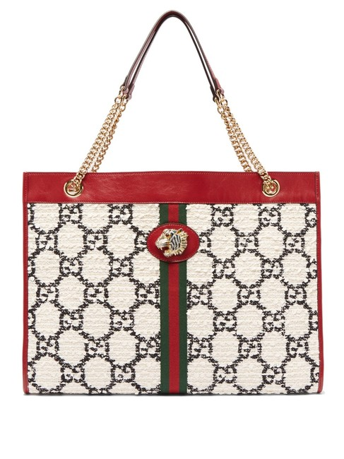 Item - Bag Mf Rajah Large Gg-jacquard Tweed White Leather and Gg Leather Tote