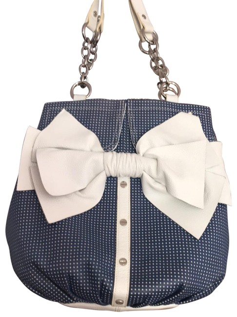 Item - Blue W White Dots Leather Hobo Bag