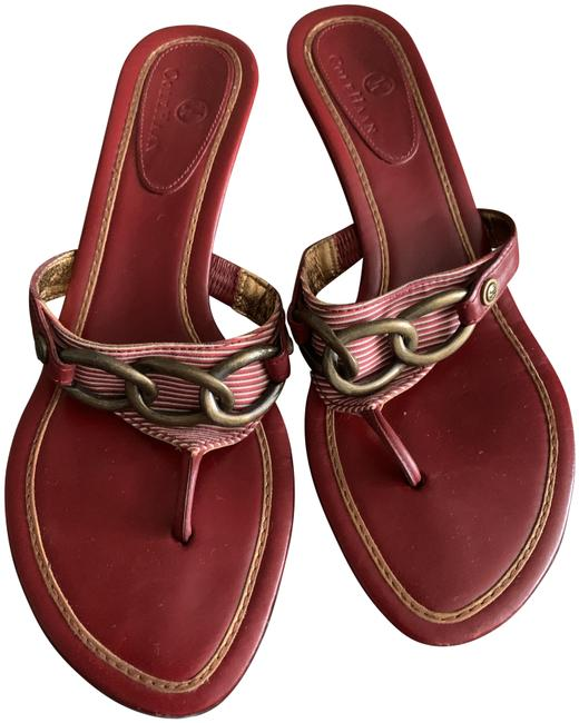 Item - Red and Gold Nautical Sandals Size US 7 Regular (M, B)