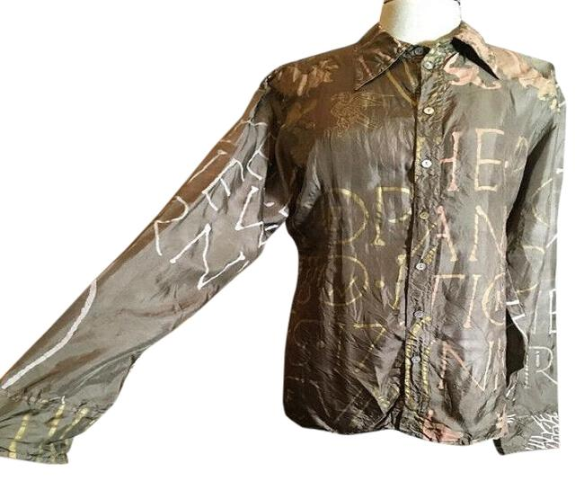 Item - Brown Taupe Silk Hand Painted Blouse Size 8 (M)