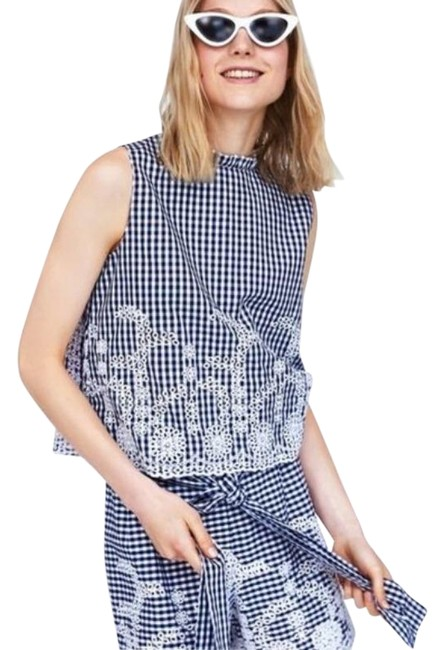 Item - Blue White Vichy Gingham Embroidered Lace Tank Top/Cami Size 8 (M)