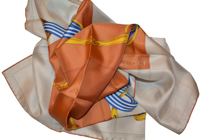 Gucci Orange/Cream Silk Interlocking Gg Twill Square Neck Made In Italy Scarf/Wrap Gucci Orange/Cream Silk Interlocking Gg Twill Square Neck Made In Italy Scarf/Wrap Image 1