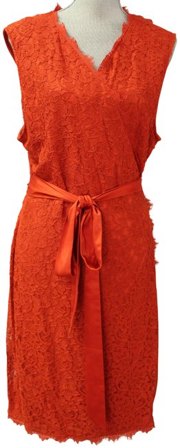 Item - Rust Brown Lace Overlay Wrap Mid-length Night Out Dress Size 16 (XL, Plus 0x)