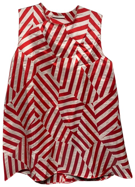 Item - Red and White Striped Silk Short Casual Dress Size 4 (S)