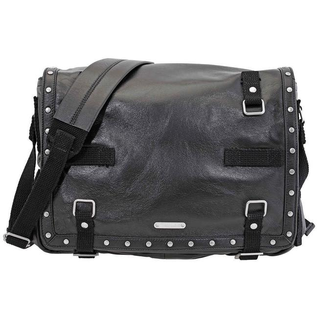 Item - With Studs Black Lambskin Leather Messenger Bag