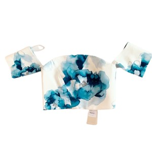 Keepsake the Label Structured Summer Floral Top White and Blue