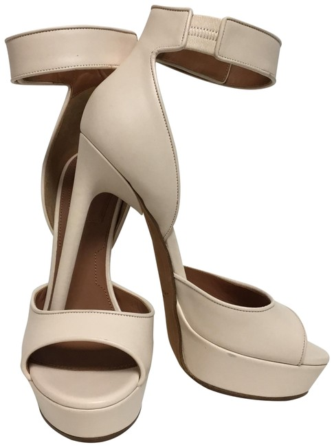 Item - Nude Sandals with Shark Lock Closure At The Ankle Strap Platforms Size EU 37.5 (Approx. US 7.5) Regular (M, B)