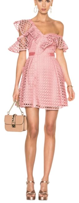 Item - Pink Lace Frill Short Cocktail Dress Size 2 (XS)