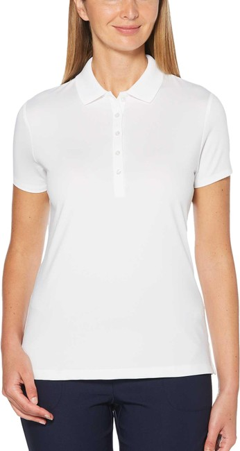 Item - Brilliant White Women's Core Solid Micro Hex Golf Polo Activewear Top Size 8 (M)