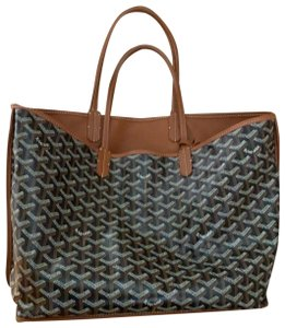 Goyard Tote in black canvas and tan leather
