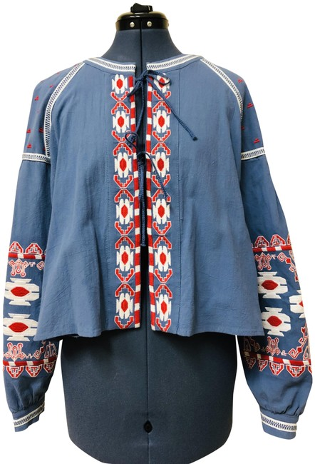 Item - Blue Red White Embroidered Floral Jacket Size 6 (S)