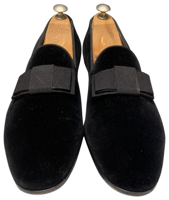 Item - Black Men's Velvet Loafers with Flat Bow Formal Shoes Size US 8 Extra Wide (Ww, Ee)