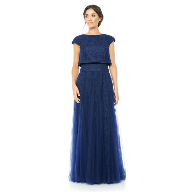 Item - Navy Embroidered Tulle Crop Top Full Skirt Long Night Out Dress Size 4 (S)