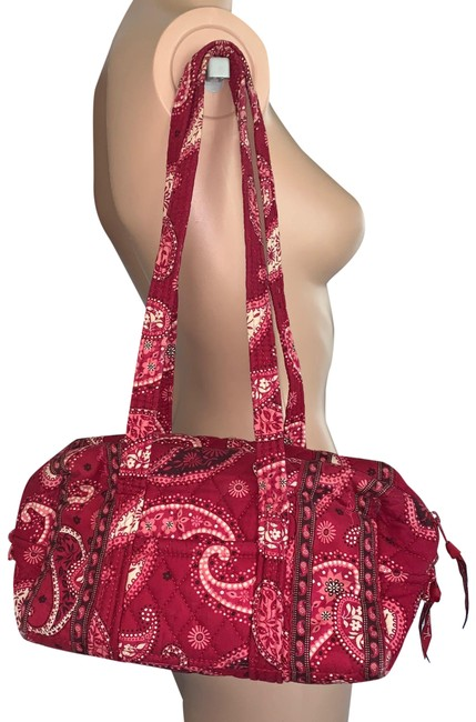 Item - Shoulder Bag Duffle Paisley Small Pink Brown Cotton Tote
