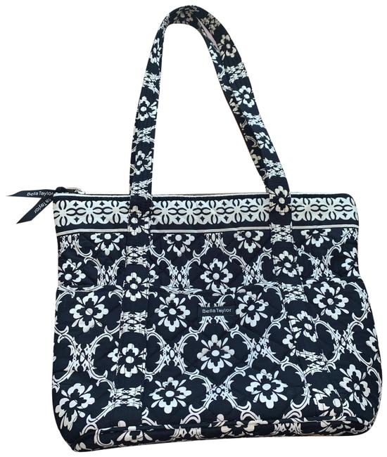 Item - Quilted Cloth Floral Black White Cotton Tote
