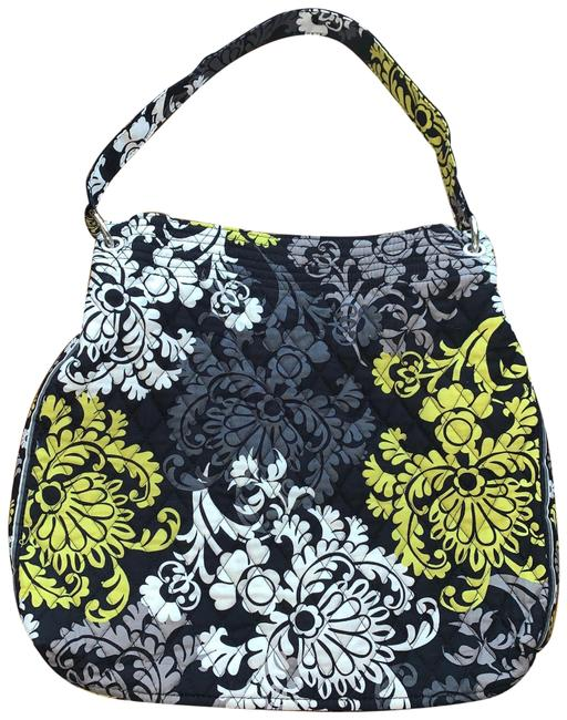 Item - Quilted Cloth Floral Yellow Black Cotton Tote