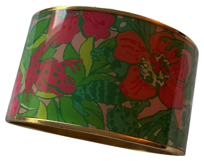 Item - Green Pink and Gold Thick Bangle Bracelet