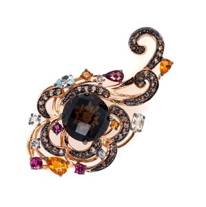 LeVian Multicolor Gems 14k Two Tone Rose Gold Fancy Floral Scroll Pendant