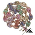 Lexico Fashion Gold/Silver Multi Colored Pave Rainbow Gucci Link Chain Necklace Lexico Fashion Gold/Silver Multi Colored Pave Rainbow Gucci Link Chain Necklace Image 1