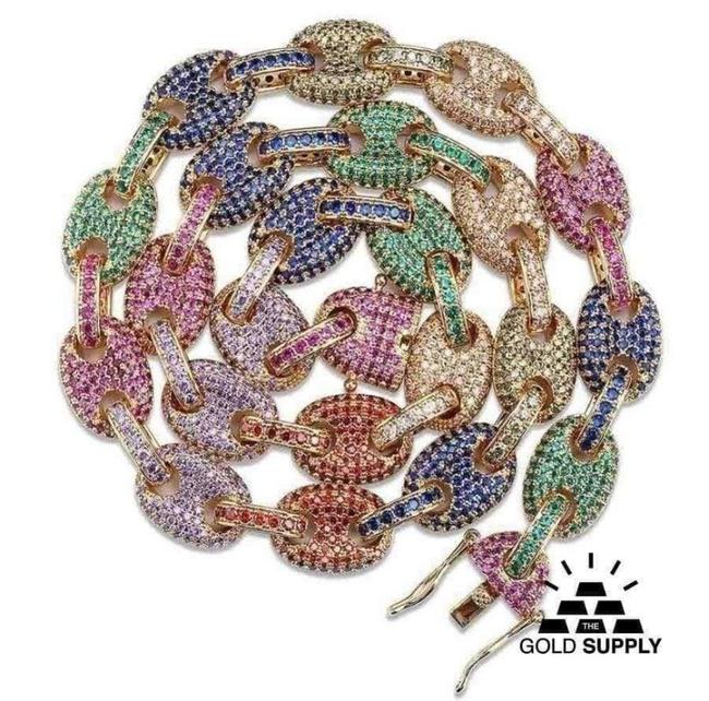 Item - Gold/Silver Multi Colored Pave Rainbow Gucci Link Chain Necklace