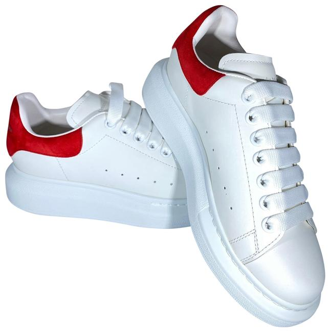 Item - White Red Women's Suede & Leather Platform Sneakers Size US 7 Regular (M, B)