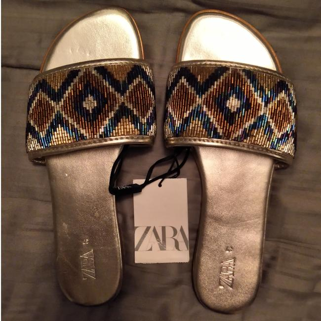 Item - Gold and Blue Beaded Sandals Size US 7 Regular (M, B)