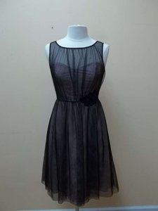 Alfred Angelo Black/Cameo Net 512 Formal Bridesmaid/Mob Dress Size 8 (M)