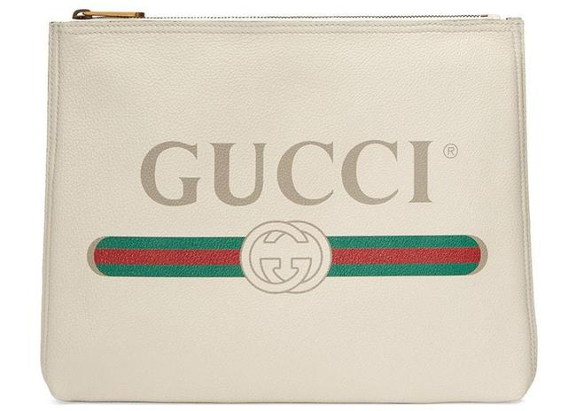 Item - Clutch New Zip Pouch Off White Leather Tote