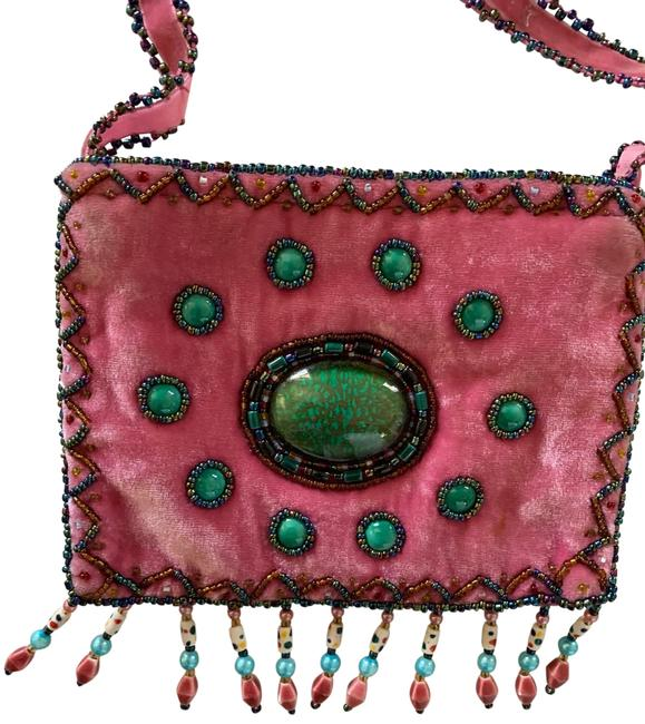 Item - Couture Pink Velour Cross Body Bag
